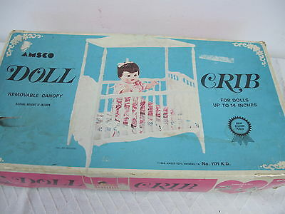 "Amsco Doll Crib Bed With Canopy  Vintage In Box Up To 14"" Dolls Plastic"