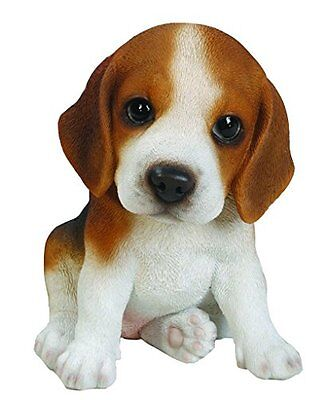 Sitting BEAGLE Puppy Dog - Life Like Figurine Statue Home / Garden NEW