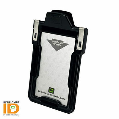 Identity Stronghold RFID Blocking Secure ID Badge Holder Classic -Black