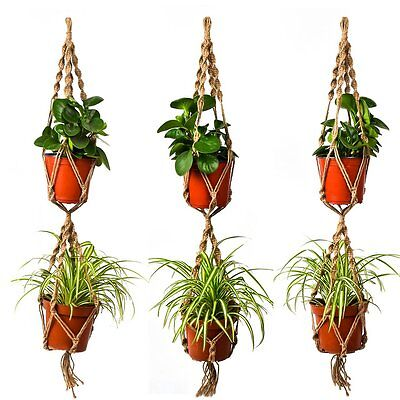 New Great Vintage Plant Hanger Holder Hooks Macrame Jute 4 Legs Double Layers