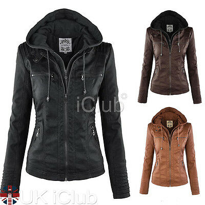 Women PU Leather Bomber Jacket Vintage Winter Overcoat Parka Coat Zip Jackets