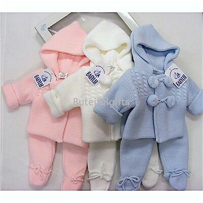 Boys Girls Spanish Warm Knitted Pom Pom Hooded Jacket & Trousers Set 0-12 Month