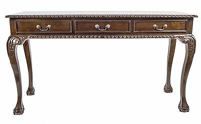 Mahogany Hall Console Entry 3 Drawer Wrighting Table Brown Antique Style Repro