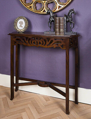 Mahogany Hall Console Entry Table Antique Style Reproduction Fret Work Slim Wood