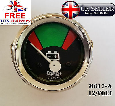 52MM DIAL 12 VOLT CHROME DIAL RED AND GREEN BAR BATTERY METER GUAGE 12v (M617-A)