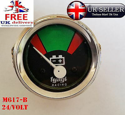 24v 52MM DIAL CHROME DIAL RED AND GREEN BAR BATTERY METER GUAGE 24VOLT (M617-B
