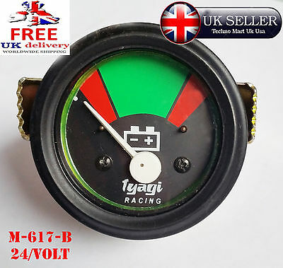 24v BATTERY METER GUAGE 52MM DIAL BLACK DIAL RED AND GREEN BAR 24VOLT (M617-B)UK