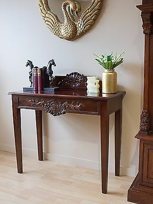 Mahogany Hall Console Edwardian Wrighting Table Brown Antique Style Reproduction