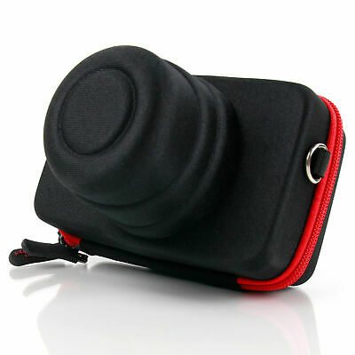 Shock-Absorbing Protective Black & Red Zip Carry Case for Canon EOS M10 Camera