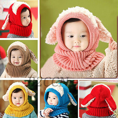 Baby Girls Boys Toddler Winter Warm Hat Beanie Hooded Scarf Earflap Knitted Cap