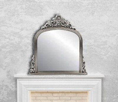 Silver Rectangular Mirror Over mantle French Antique Style Gilt  115x105cm Wall