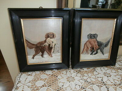 Antique Pair Irish Setter Dogs Fruits Of the Hunt Oil Paintings~ Dated 1895