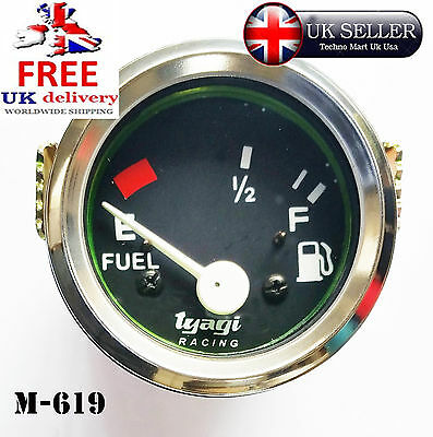"CAV VAN BOAT  FUEL LEVEL METER GUAGE 52mm 2"" CHROME DIAL CLOCK VINTAGE  M-619"