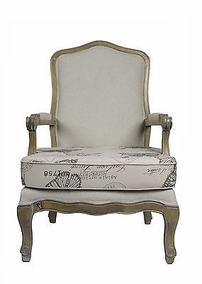 French Louis Armchair Oak Wash Shabby Chic Antique Style Bedroom Hall Carver