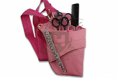 Pink Hairdressing Scissor And Comb Holster Waist Pouch Bag