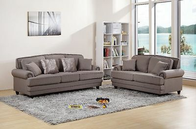 Linen Fabric Suite Sofa Settee Armchair 3 + 2 Brown Grey Beige