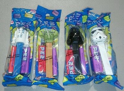 Lot of 4 star wars pez dispensers. Darth vader, storm trooper, yoda, R2D2. NICE!
