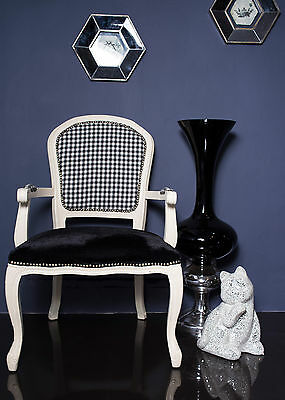 French Louis Armchair White Check Shabby Chic Antique Black Velvet Bedroom Chair