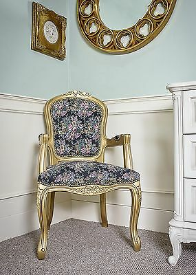 French Louis Armchair Floral Vintage Shabby Chic Bedroom Antique Style Chair