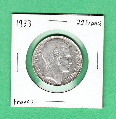 1933 France 20 Francs Silver Coin Nice Coindition