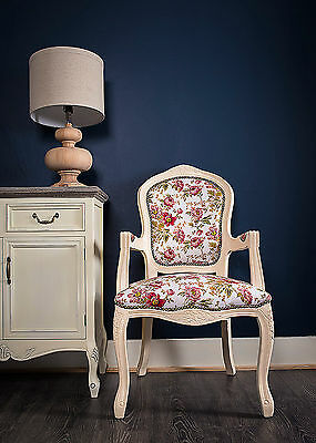 French Louis Armchair White Red Floral Shabby Chic Bed Room Antique  Bedroom