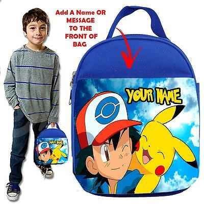 Personalised POKEMON  1 KIDS BLUELunch Bag Insulated Cool Box SCHOOL