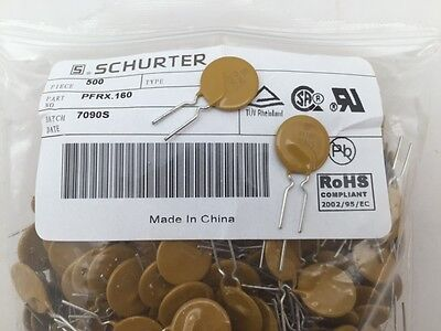 (25 pcs) PFRX.160 Schurter, 60vdc 1.6A Hold Current, Resettable Fuse
