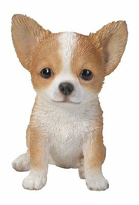 Sitting CHIHUAHUA Puppy Dog - Life Like Figurine Statue Home / Garden NEW