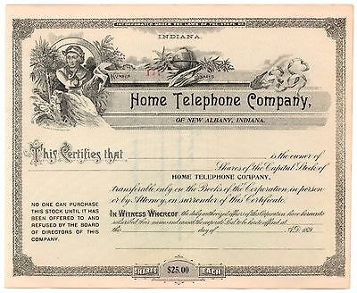 189- Home Telephone Company of New Albany, Indiana Stock Certificate No. 174