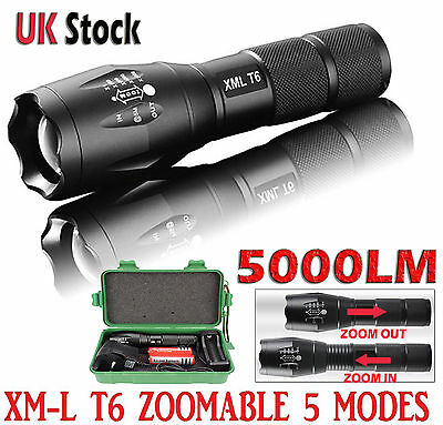Police LED Flashlight Tactical 6000LM XML-T6 Zoomable Torch Lamp 18650 AAA UK-01