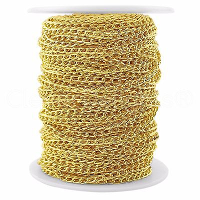 Curb Chain Spool - 30 Feet - Gold - 3x5mm Link - Bulk Roll