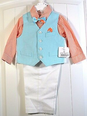 Nwt Baby Boy Toddler Starting Out 3 Piece Shirt Vest Pants Tie Suit Sz 24 Mos