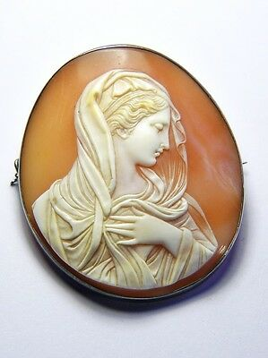 STUNNING ANTIQUE ITALIAN SILVER CARVED SHELL CAMEO BROOCH MARY MAGDALENE c1870