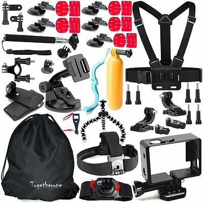 45 in 1 Pole Head Chest Strap Mount Camera Accessories set kit GoPro Hero 4 3 2