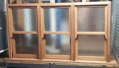TIMBER WINDOWS -  Triple Unit Double hung Window - 1000h x 1755w - obscure glass
