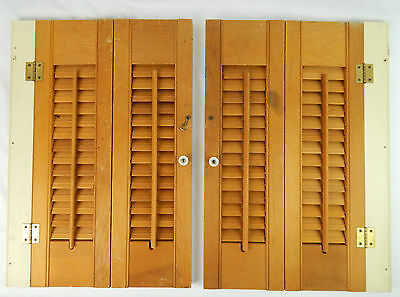 """Pair (2) Natural Wooden Slat Louvered Window Shutters 21.25"""" x 14.5"""" Kitchen"""
