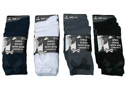 6 Pairs Girls Uniform School Bow Ankle Socks Black Ribbon Ankle School Socks