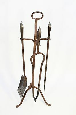 Antique Wrought Iron Ring Top Spear Handles Fireplace Tools & Tripod Stand Set