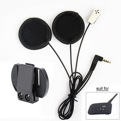 Helmet Headset Mic Speaker+Clips for V6 Motorcycle Bluetooth Interphone Intercom