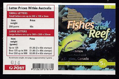 Australia 2012 Fishes of the Reef Phil Booklet ($1.00) O/PT - B455(24)