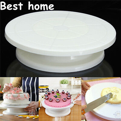 """11"""" Rotating Icing Cake Decorating Turntable Display Movable Stand Plate Trays"""