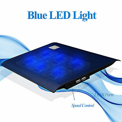 """N2 Ultra-Slim Notebook Cooling Pad Cooler 6 Fans With Blue Led F 15.4""""Laptop"""