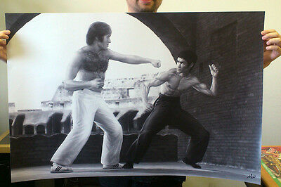 "Bruce Lee Vs Chuck Norris 36"" x 24"" Poster - Limited Edition"