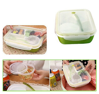Leakproof Rectangular Lunch Bento Box,Microwave Food Container 4 separate spaces