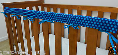 1 x Baby Cot Rail Cover Crib Teething Pad - Blue Spots on Navy - **REDUCED***