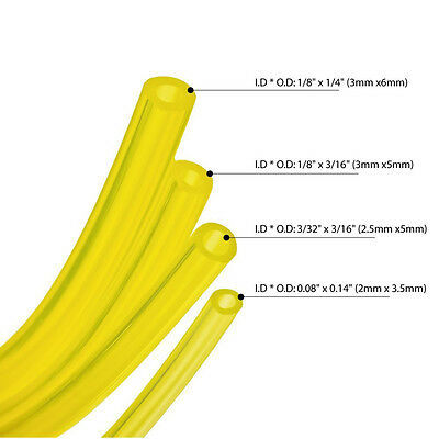 4 Sizes 10-Feet Yellow Smooth Fuel Tube Petrol Diesel Oil Line Hose For Blowers