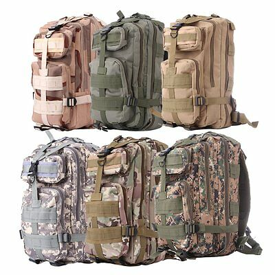 30L Hiking Camping Bag Army Military Tactical Trekking Rucksack Camo Backpack FT