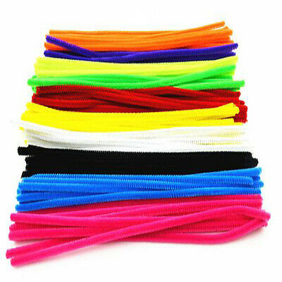 100pc Striped Chenille Stems Fluffy Pipe Cleaners Multiple Colours 30cm New