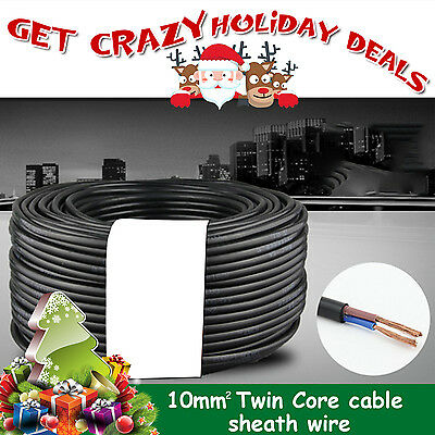 Car Trailer Automotive Dual Battery Sheath Twin Core Cable Wire 10MM2 12V 5Meter