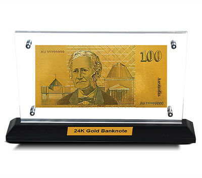 Acrylic Frame Australian Paper $100 Bank Note 24Kt Gold Limited Edition Colour